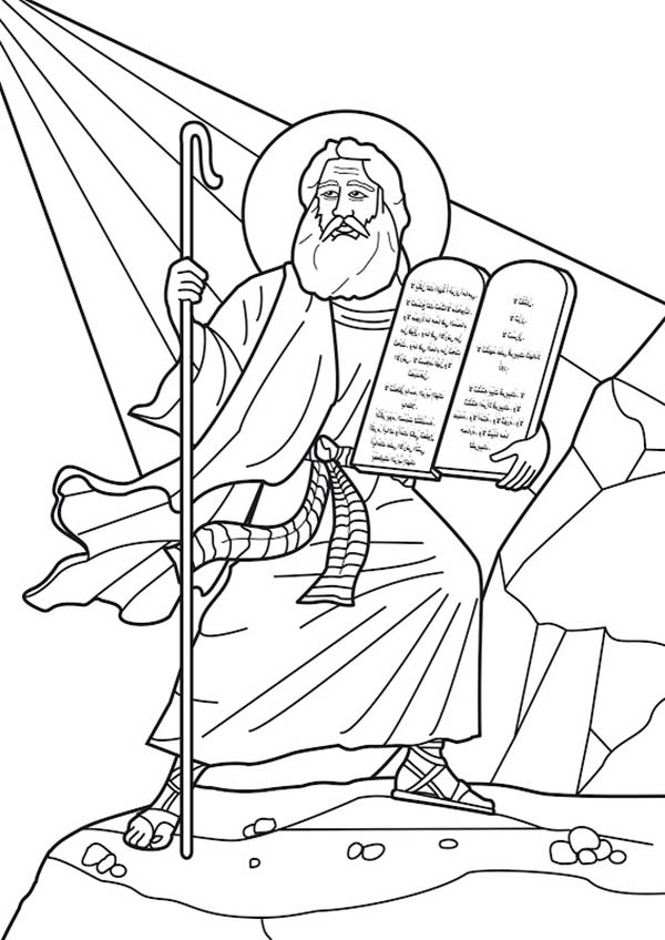 Ten Commandments, : Moses at Mount Sinai Receives the Ten Commandments Coloring Page