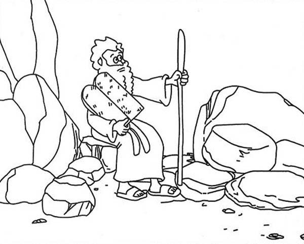 Ten Commandments, : Moses on Mount Sinai Receiving Ten Commandments Coloring Page