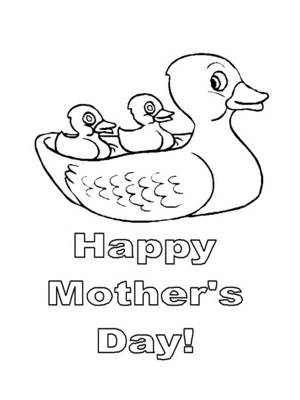 Mothers Day, : Mother Duck and Duckling on Happy Mothers Day Coloring Page