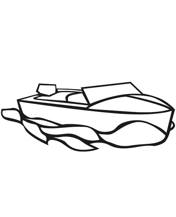 Boat, : Motor Boat Coloring Page