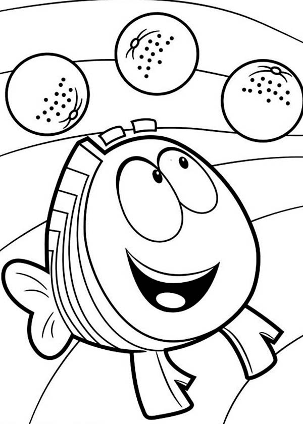 Bubble Guppies, : Mr Grouper Delight Seeing Fruit in Bubble Guppies Coloring Page