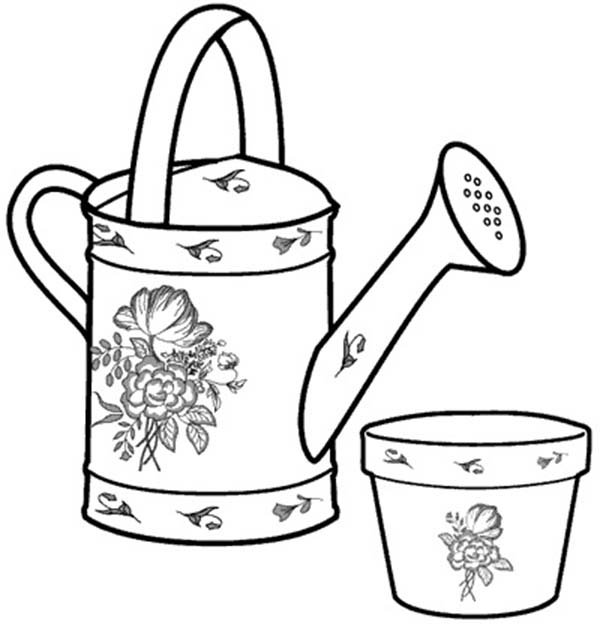 Watering Can, : My Mom Watering Can Coloring Page