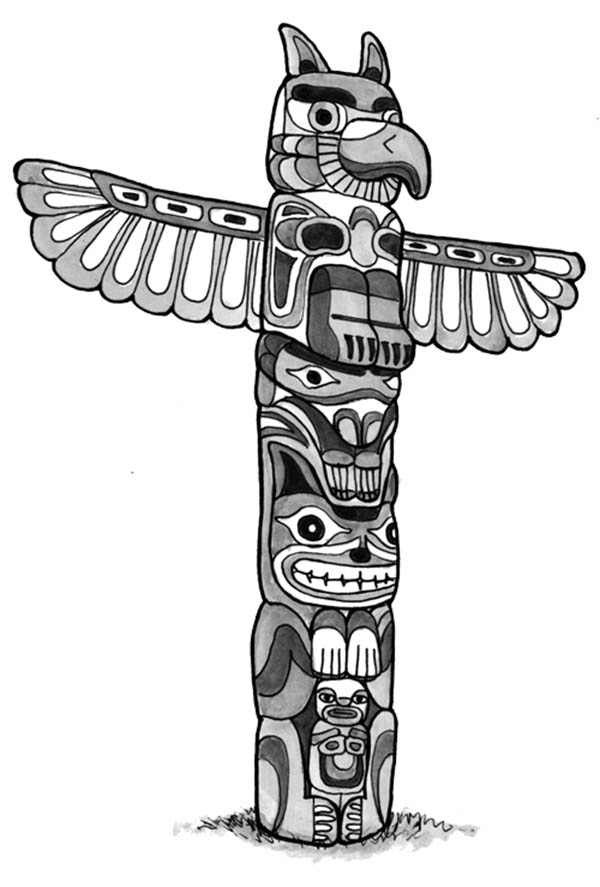 Native American Day, : Native American Totem with Crafted Animal for Native American Day Coloring Page