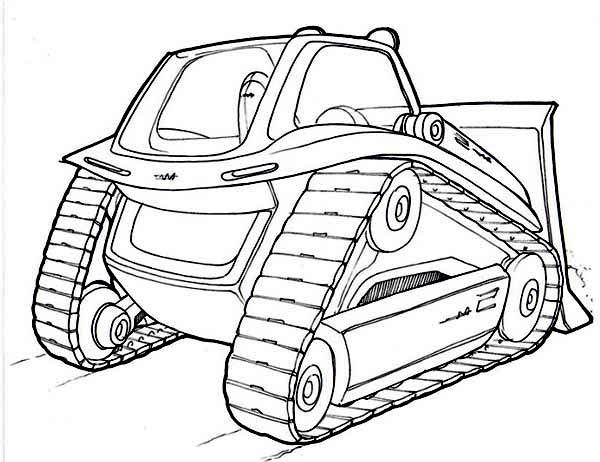 Bulldozer, : New Model Bulldozer Coloring Page