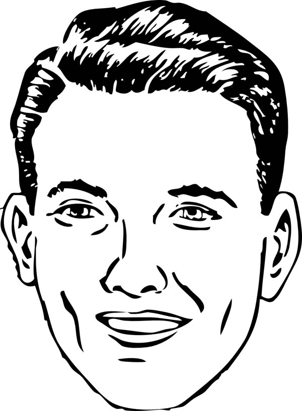 Face, : Normal Person Type of Face Coloring Page