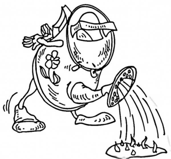 Watering Can, : Old Watering Can Watering Grass Coloring Page