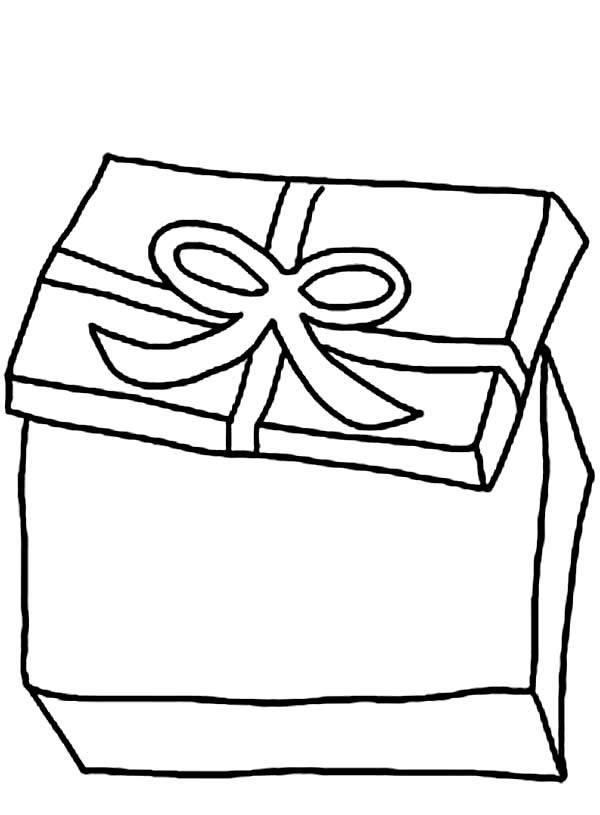 Box, : Opening Present Box Coloring Page