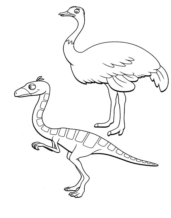 Dinosaurus Train, : Oren Want to Race with Ostrich in Dinosaurus Train Coloring Page