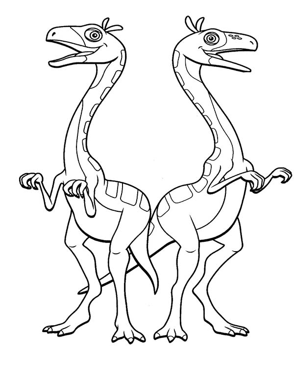 Dinosaurus Train, : Oren and Ollie the Ornithomimus in Dinosaurus Train Coloring Page