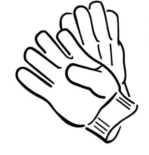 Winter Clothing, : Pair of Gloves in Winter Clothing Coloring Page