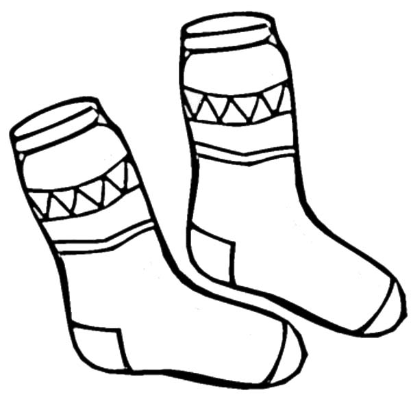 Winter Clothing, : Pair of Socks in Winter Clothing Coloring Page