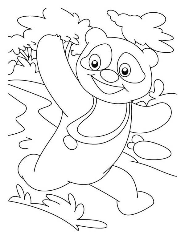 Panda, : Panda Running Around Coloring Page