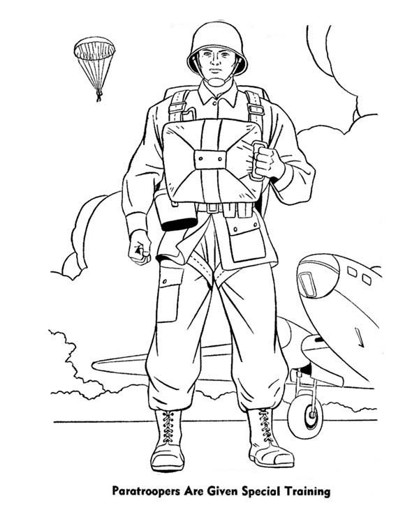 Armed Forces Day, : Paratroopers are Given Special Training in Armed Forces Day Coloring Page
