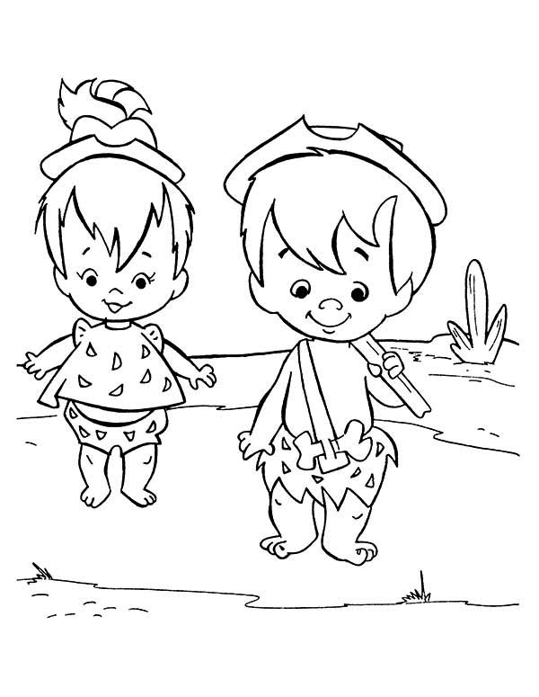 The Flintstones, : Pebbles and Bamm Bamm Play Together in the Flintstones Coloring Page