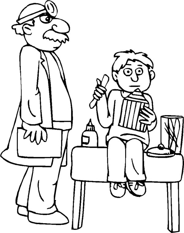 Doctor, : Pediatrician and Patient in Doctor Coloring Page