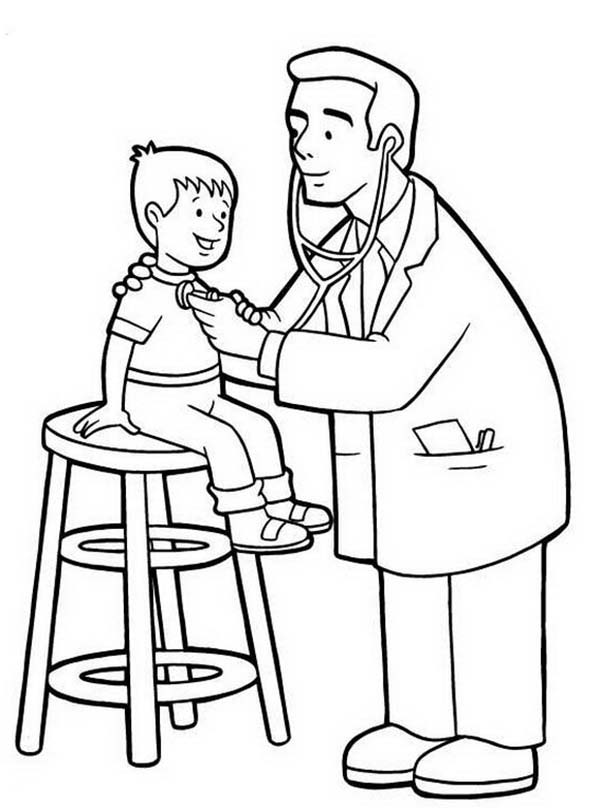 Doctor, : Pediatrician is Doctor Specialized with Kid Coloring Page
