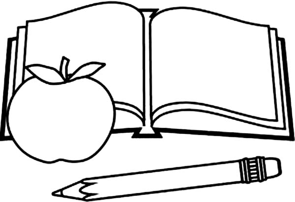 books picture of book pencil and apple coloring page - Book Coloring Pages