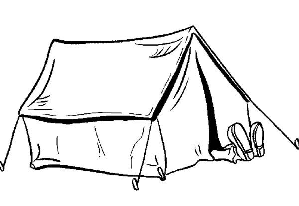 Camping, : Picture of Camping Tent Coloring Page