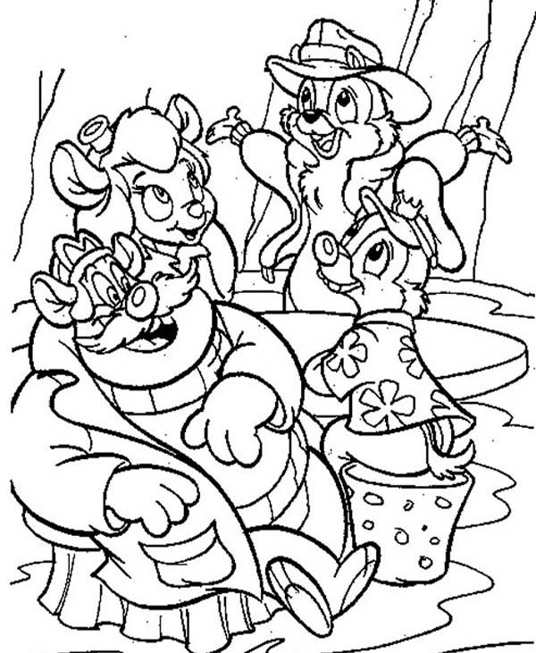 Chip and Dale, : Picture of Chip and Dale Coloring Page For Kids