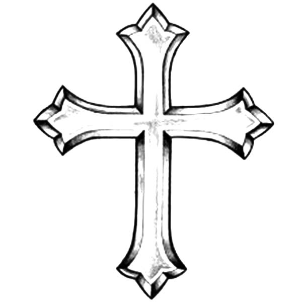 Cross, : Picture of Christian Cross Coloring Page