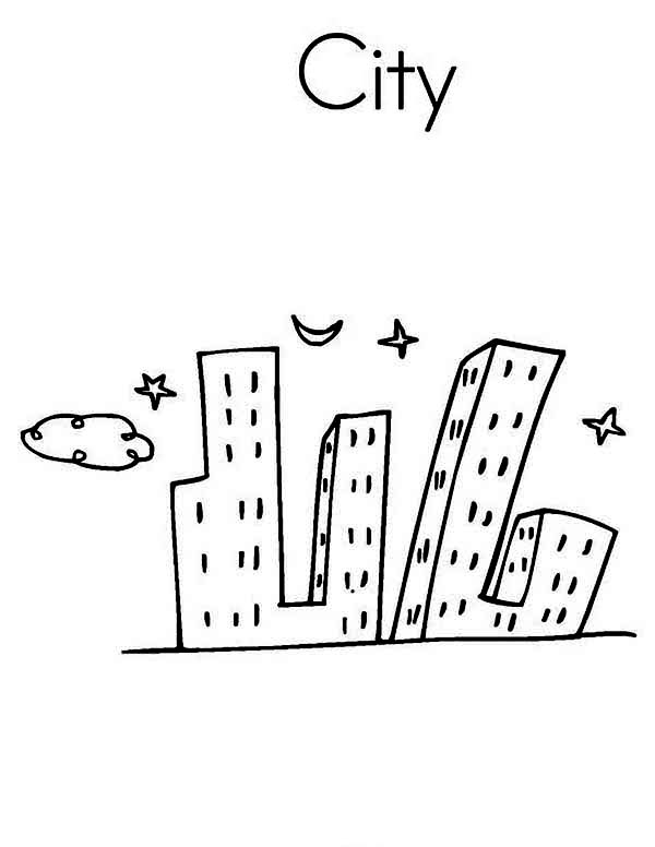City, : Picture of City Scenes Coloring Page