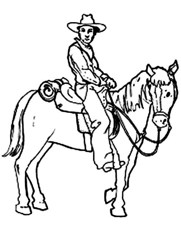 Cowboy, : Picture of Cowboy Sitting on His Horse Coloring Page
