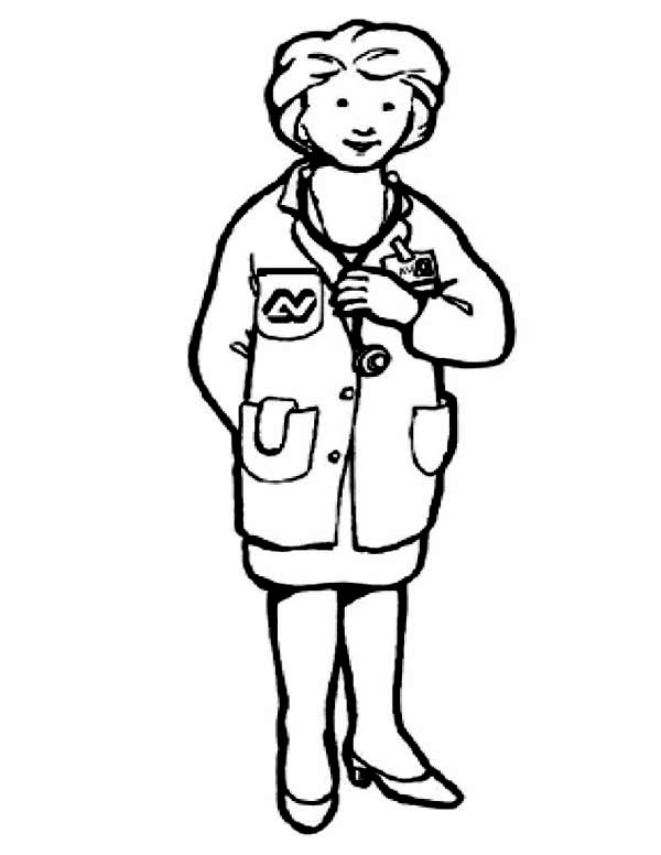 Doctor, : Picture of Female Doctor Coloring Page