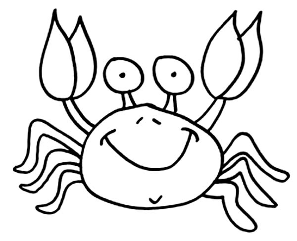 Crab, : Picture of Funny Crab Coloring Page