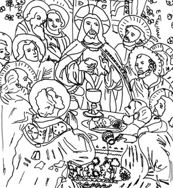 Disciples, : Picture of Jesus Disciples in the Last Supper Coloring Page