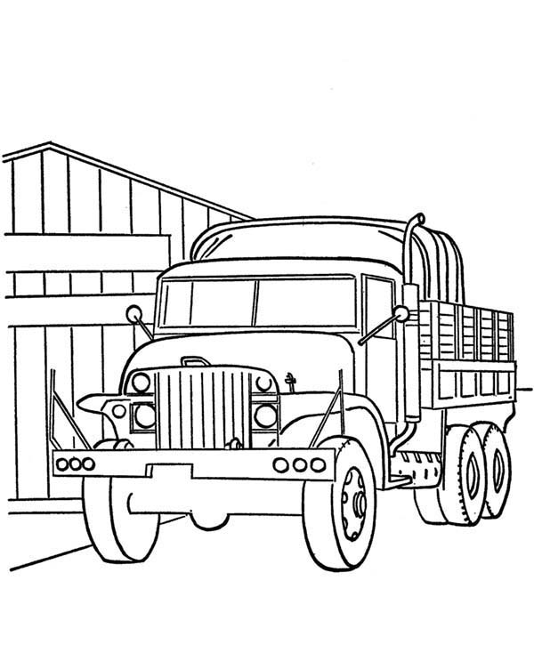 Armed Forces Day, : Picture of Military Truck in Armed Forces Day Coloring Page