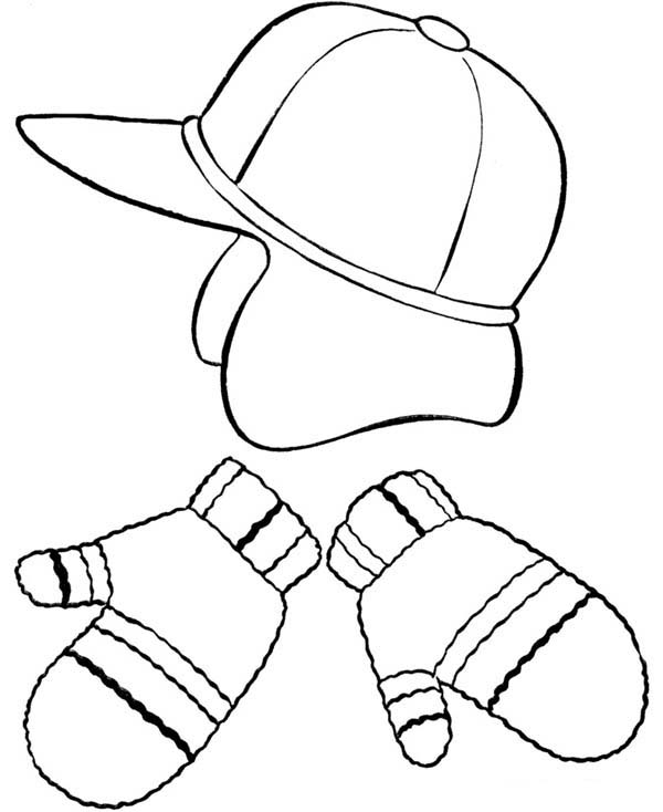 Winter Clothing, : Picture of Winter Clothing Coloring Page