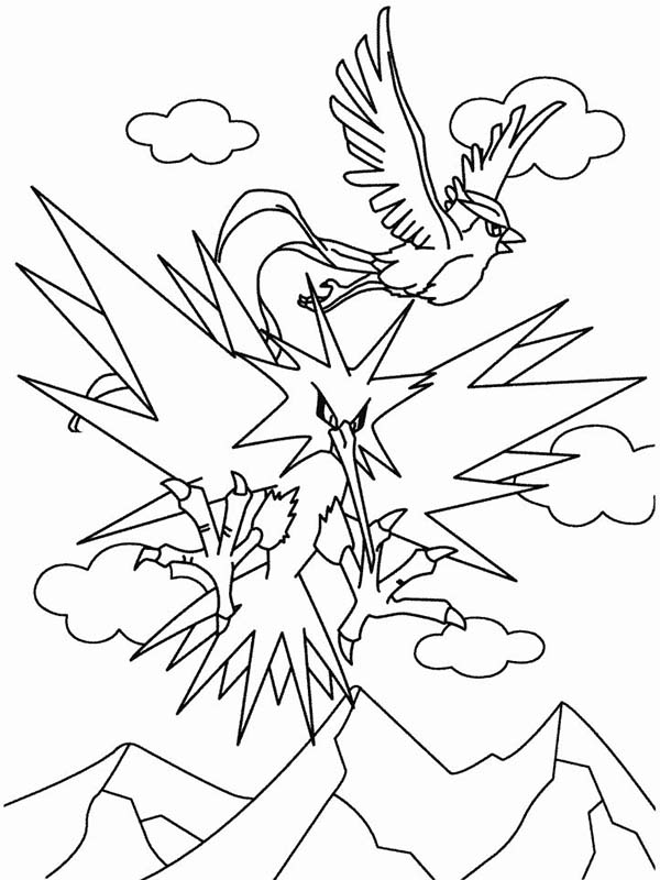 Articuno, : Pokemon Articuno Bird Flying Coloring Page