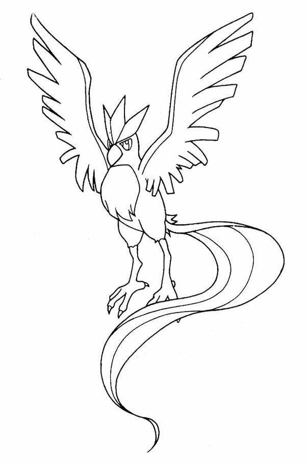 Articuno, : Pokemon Articuno Spread His Wings Coloring Page