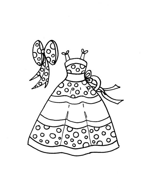 Dress, : Polkadot Dress with Ribbon Accessories Coloring Page