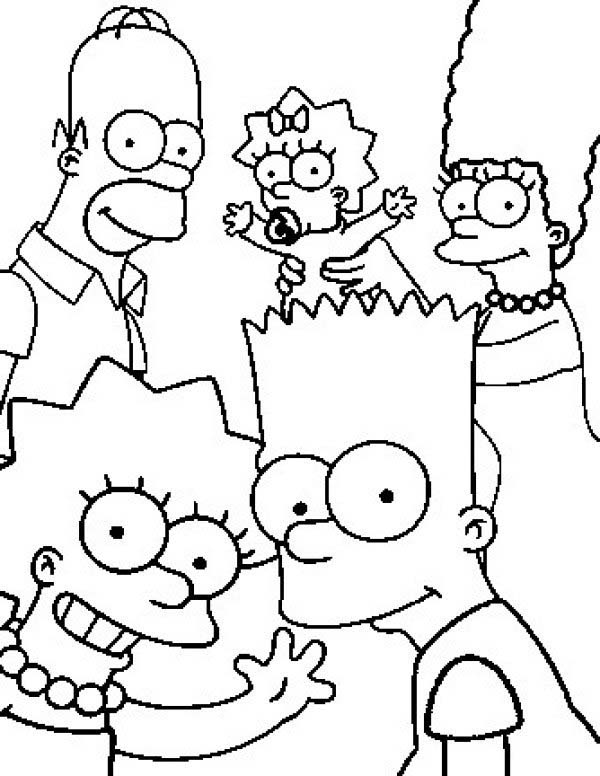 The Simpsons, : Potrait of the Simpsons Family Coloring Page