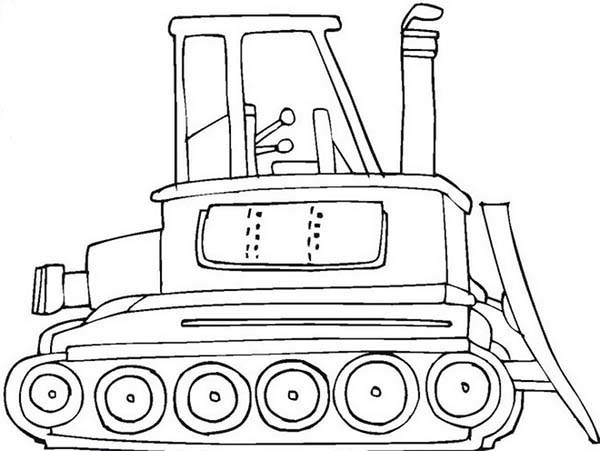 Bulldozer, : Powerful Bulldozer Coloring Page