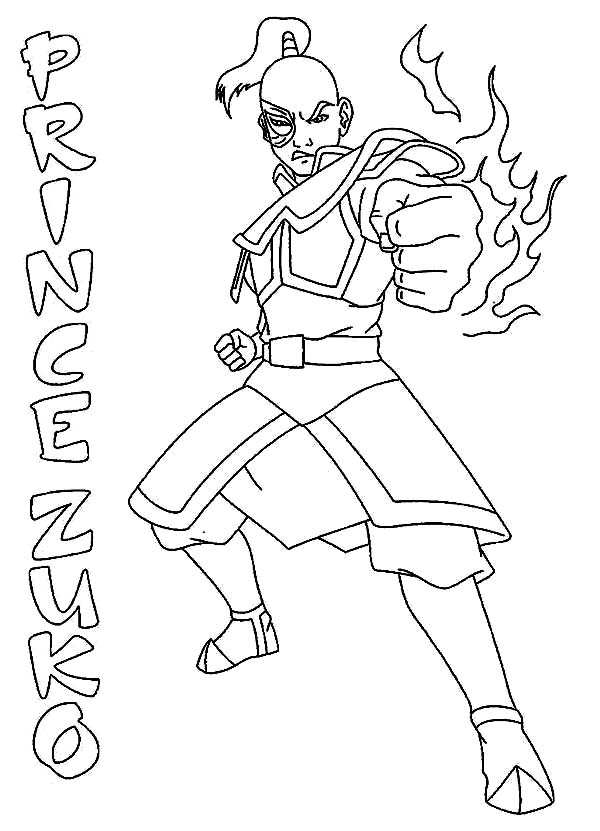 Avatar the Last Air Bender, : Prince Zuko from Avatar the Last Air Bender Coloring Page
