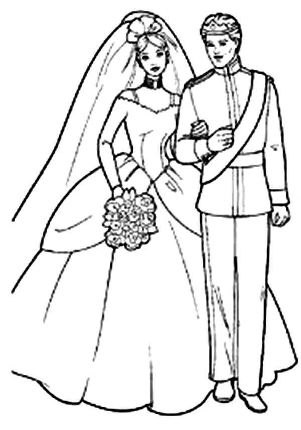 Barbie Doll, : Prince and Princess Barbie Doll Coloring Page