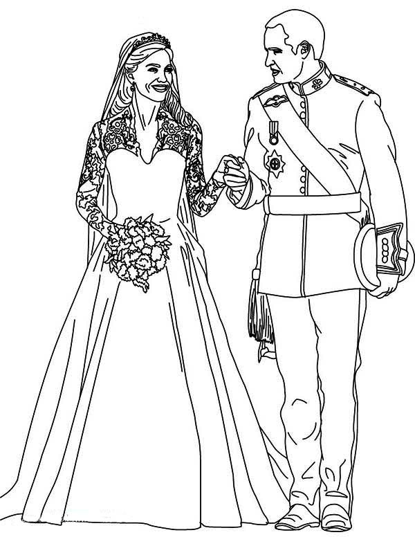 Bride and Groom in Wedding Coloring Page Bride and Groom in