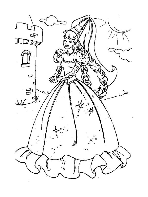Barbie Doll, : Princess Barbie Doll at Castle Coloring Page