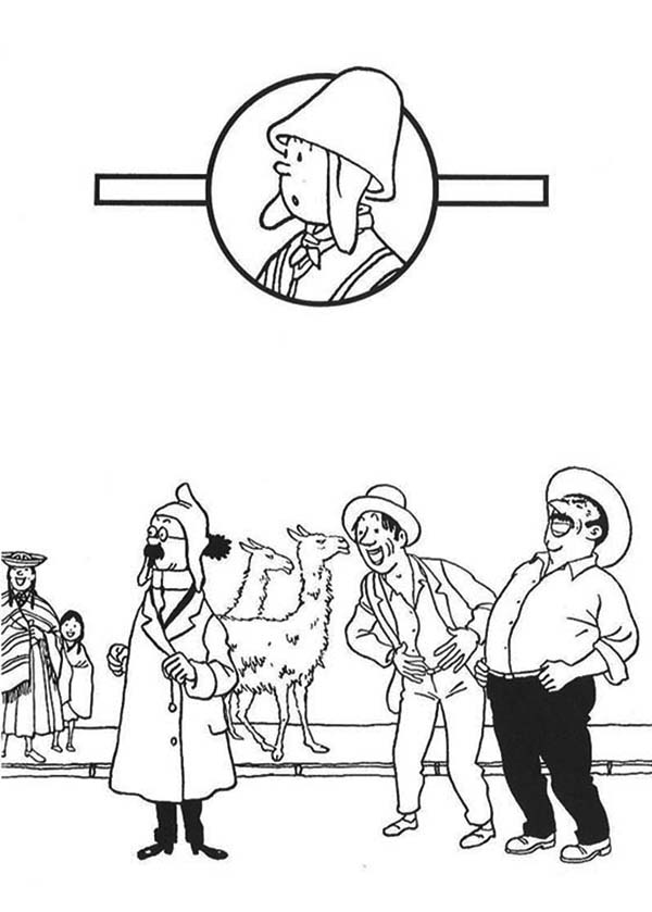 Tintin, : Professor Calculus Waiting for Tintin in the Adventures of Tintin Coloring Page