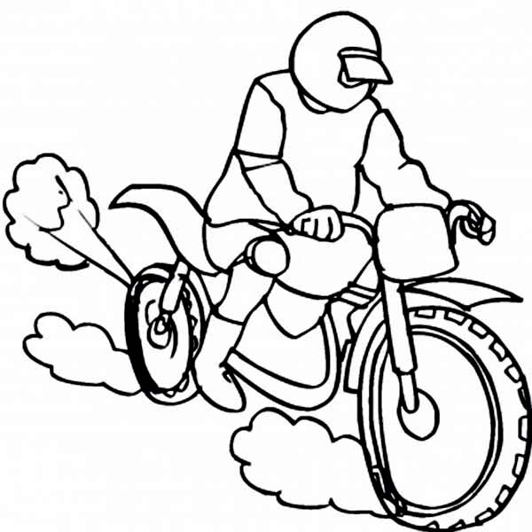 Racing on the Dirt Bike Coloring Page | Coloring Sun