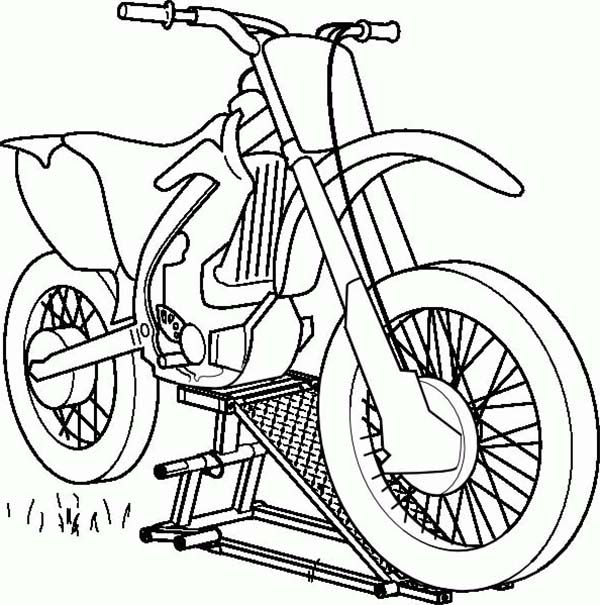 Dirt Bike, : Repairing Dirt Bike Motorcycle Coloring Page