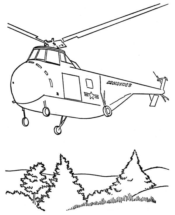 Armed Forces Day, : Rescue Chopper in Armed Forces Day Coloring Page