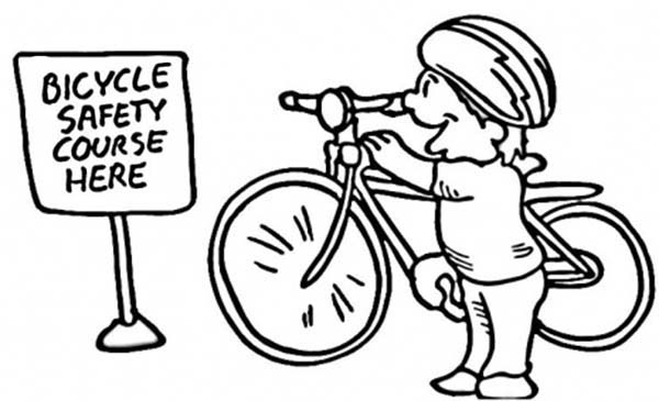 Bicycle, : Ride Bicycle on Course  for Safety Coloring Page