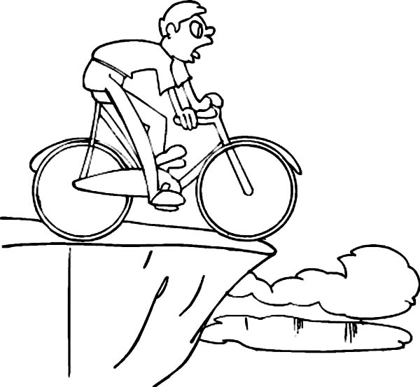 Bicycle, : Ride Bicycle on Edge Cliff Coloring Page