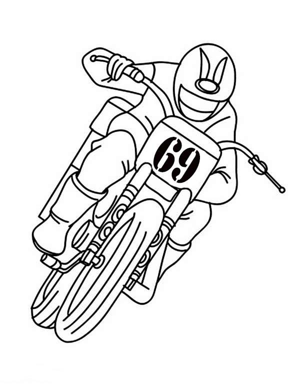 Dirt Bike, : Riding Dirt Bike with Only One Hand Coloring Page