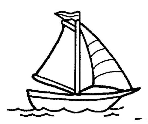 Boat, : Sailing Boat Coloring Page