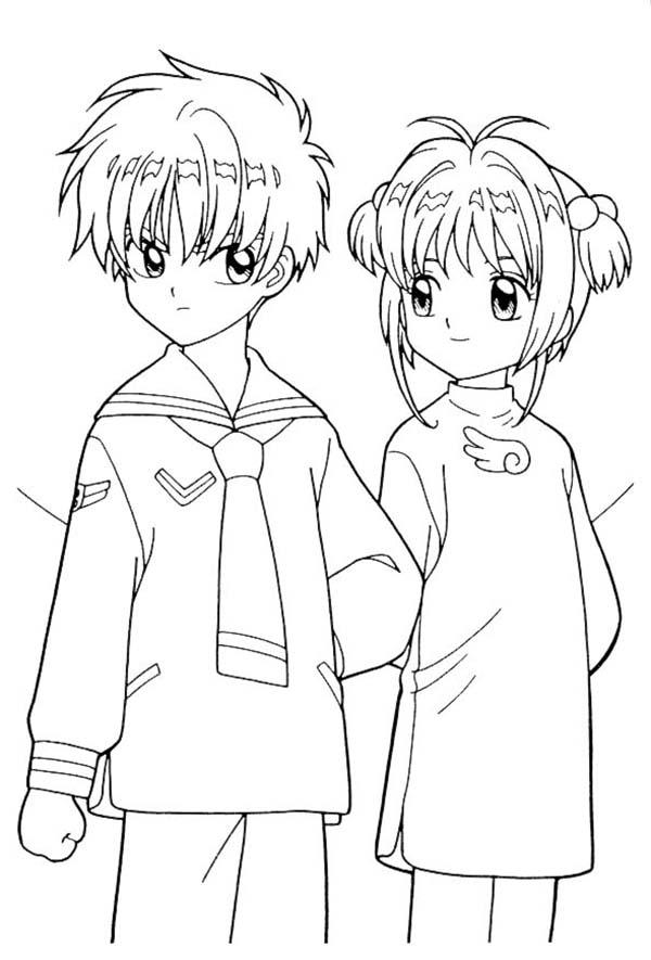 Cardcaptor Sakura, : Sakura and Her Boyfriend in Cardcaptor Sakura Coloring Page