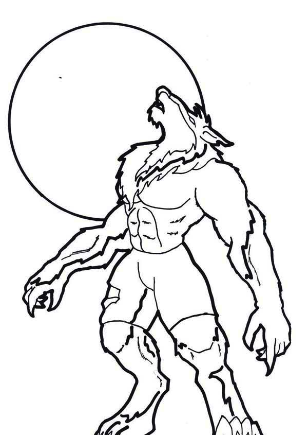 scary sound of howling werewolf coloring page
